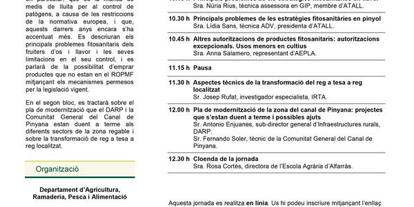 Programa de la XIV Jornada de fructicultura