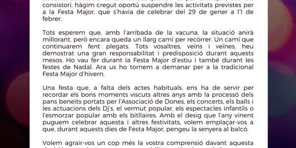 Imatge amb la carta de l'alcalde Antoni Carré