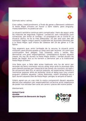 Suspensió de la Festa Major d'hivern en honor a Sant Valero